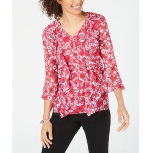 NEW Alfani Printed Ruffle-Front Mesh BLOUSE Top XL